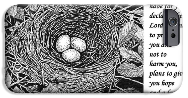 Janet King iPhone Cases - Birds nest with scripture iPhone Case by Janet King
