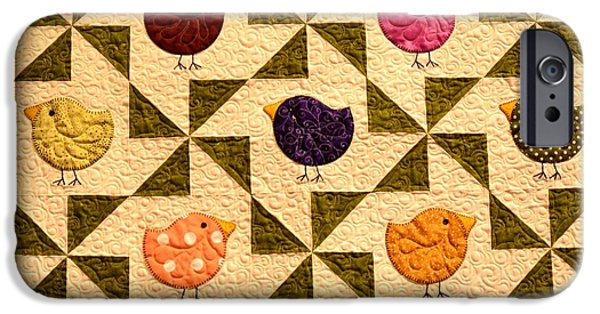 Quilt Blue Blocks iPhone Cases - Birds Of A Different Color iPhone Case by Image Takers Photography LLC - Carol Haddon