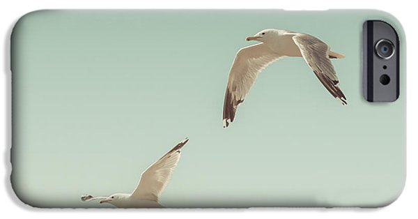 Flying Seagull iPhone Cases - Birds of A Feather iPhone Case by Lucid Mood