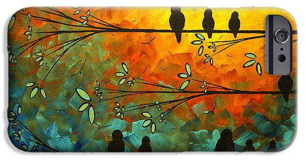 Blossom iPhone Cases - Birds of a Feather Original Whimsical painting iPhone Case by Megan Duncanson
