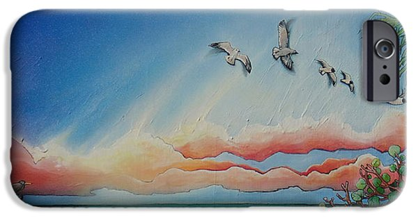 Flying Seagull Paintings iPhone Cases - Birds of Paradise iPhone Case by Stacey Heney
