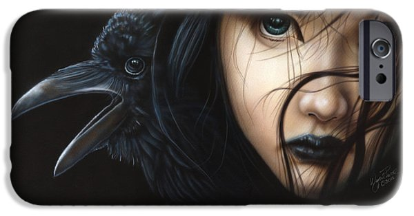 Recently Sold -  - Airbrush iPhone Cases - Birds of Prey- Raven iPhone Case by Wayne Pruse