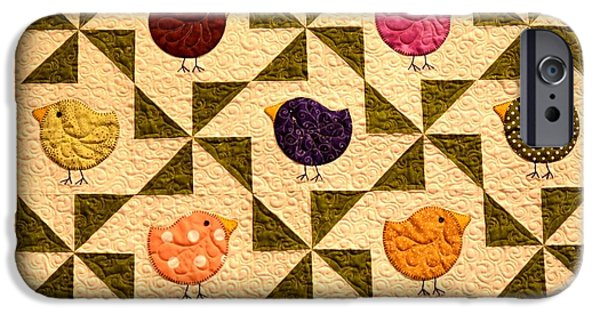 Quilt Blue Blocks iPhone Cases - Birds On A Quilt iPhone Case by Image Takers Photography LLC - Carol Haddon