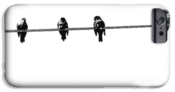 Birds iPhone Cases - Birds On a Wire 3 iPhone Case by Nina Silver