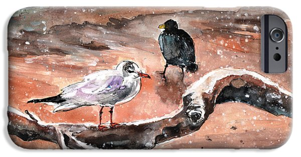 Seagull Drawings iPhone Cases - Birds On The Constance Lake in Winter iPhone Case by Miki De Goodaboom