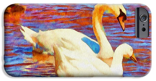 Birds Digital iPhone Cases - Birds on the Lake iPhone Case by Jeff Kolker
