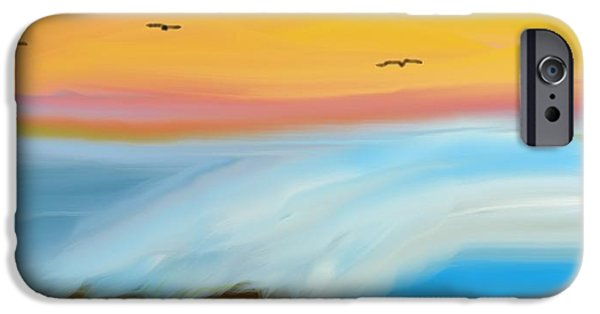 Meshed Digital iPhone Cases - Birds Over The Ocean iPhone Case by Constance Carlsen