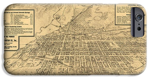 Birdseye iPhone Cases - Birdseye Map of Colorado Springs - 1909 iPhone Case by Eric Glaser
