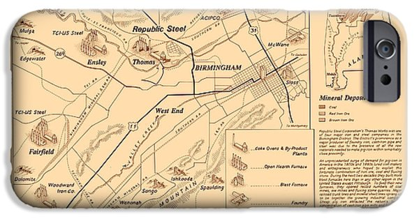 Location Drawings iPhone Cases - Birmingham Alabama Industrial District 1950 iPhone Case by Mountain Dreams