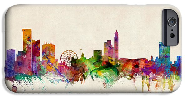 Britain iPhone Cases - Birmingham England Skyline iPhone Case by Michael Tompsett