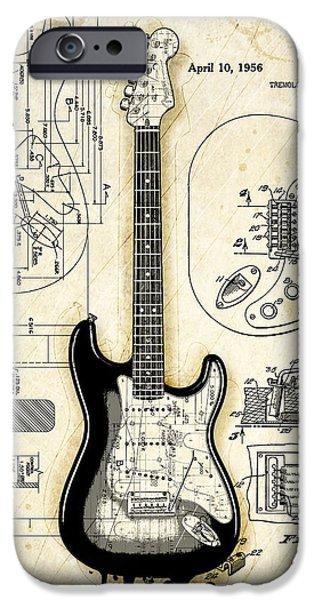 Fender Strat iPhone Cases - Fender Strat Birth Certificate iPhone Case by Gary Bodnar