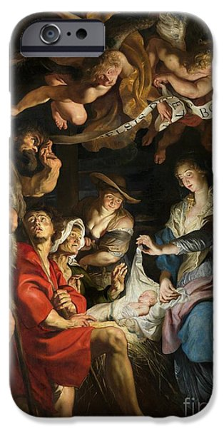 Adoration iPhone Cases - Birth of Christ Adoration of the Shepherds iPhone Case by Peter Paul Rubens