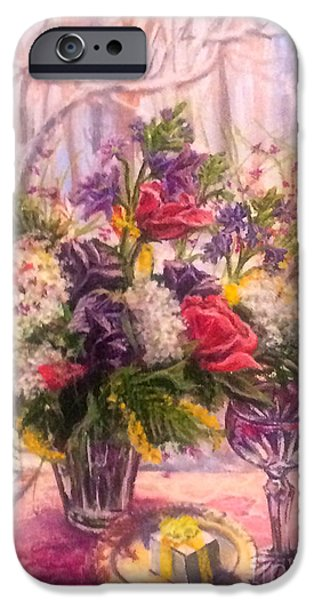 Table Wine iPhone Cases - Birthday Flowers iPhone Case by Gail Allen