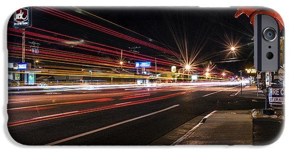 Night Photography iPhone Cases - Bishop Light Trails iPhone Case by Cat Connor