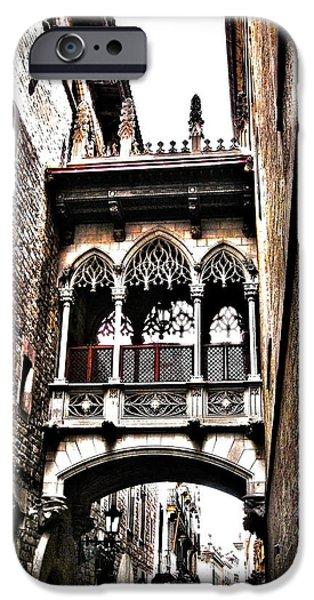 Bishop's Street - Barcelona iPhone Case by Juergen Weiss