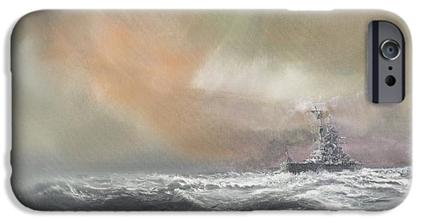 Two Waves iPhone Cases - Bismarck signals Prinz Eugen  iPhone Case by Vincent Alexander Booth