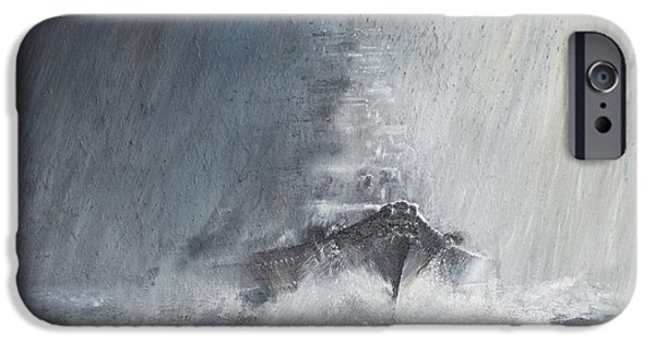 Bad Weather iPhone Cases - Bismarck through curtains of rain iPhone Case by Vincent Alexander Booth