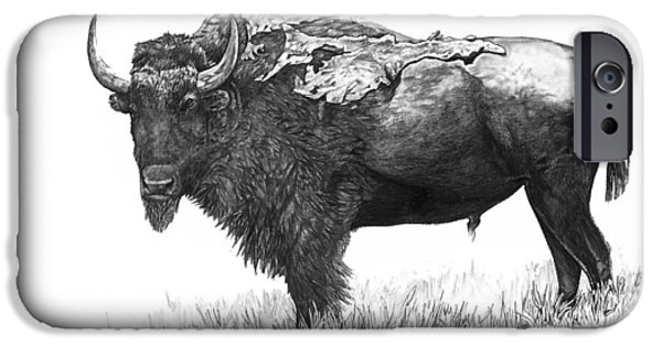 Shed Drawings iPhone Cases - Bison iPhone Case by Aaron Spong