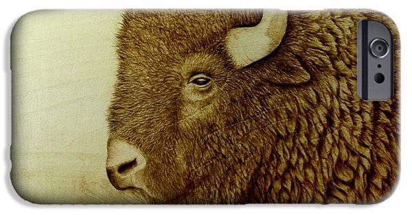Bison Pyrography iPhone Cases - Bison Boss iPhone Case by Jo Schwartz