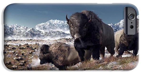 Bison Art iPhone Cases - Bison Herd in Winter iPhone Case by Daniel Eskridge