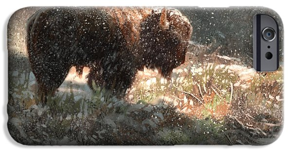 Bison iPhone Cases - Bison in the Snow iPhone Case by Aaron Blaise