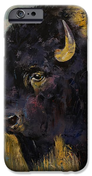 Michael Paintings iPhone Cases - Bison iPhone Case by Michael Creese