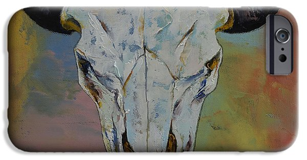 Earth Paintings iPhone Cases - Bison Skull iPhone Case by Michael Creese