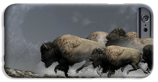 Bison iPhone Cases - Bison Stampede iPhone Case by Daniel Eskridge