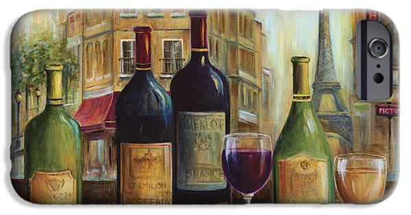 Wine Bottles Paintings iPhone Cases - Bistro De Paris iPhone Case by Marilyn Dunlap