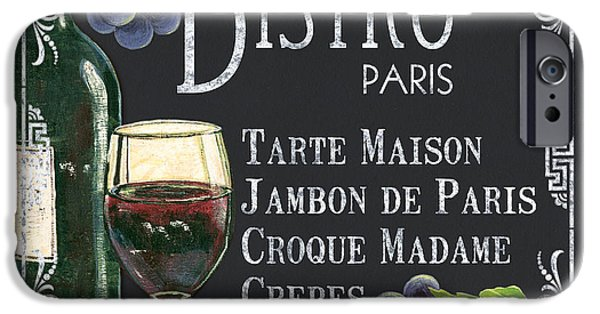 Wine Glasses Paintings iPhone Cases - Bistro Paris iPhone Case by Debbie DeWitt