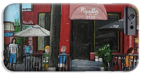 Montreal Streets Paintings iPhone Cases - Bistro Piquillo in Verdun iPhone Case by Reb Frost