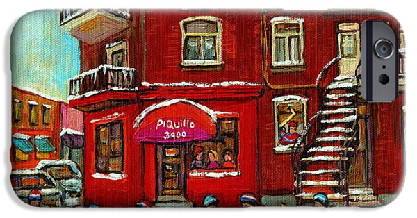 Hockey Paintings iPhone Cases - Bistro Piquillo Street Hockey Game Near The Resto Paintings Of Verdun Winter City Scenes Cspandau  iPhone Case by Carole Spandau