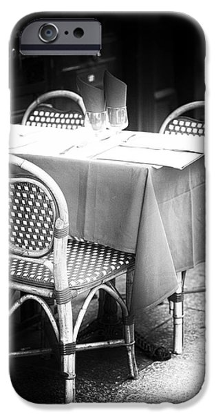 Table Wine iPhone Cases - Bistro Table iPhone Case by John Rizzuto