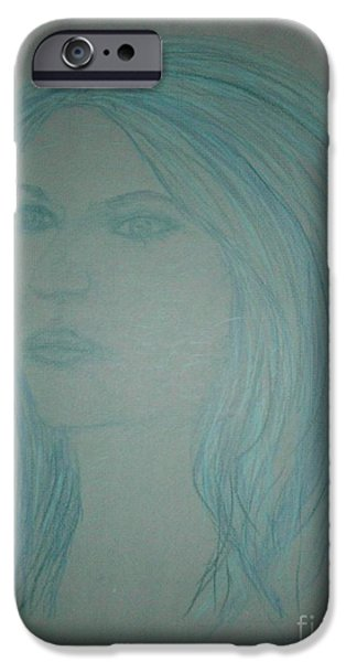 Etc. Drawings iPhone Cases - Biviana in Blue iPhone Case by James Eye