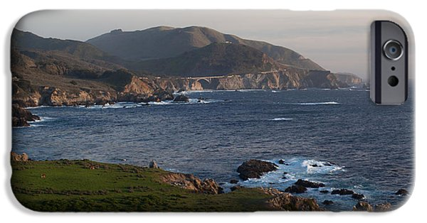 Big Sur Beach iPhone Cases - Bixby Bridge and Cows iPhone Case by Mike Reid