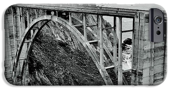 Pch iPhone Cases - Bixby Creek Bridge Black And White iPhone Case by Benjamin Yeager