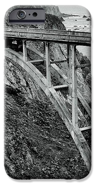 Bixby Creek Bridge Black And White iPhone Case by Benjamin Yeager