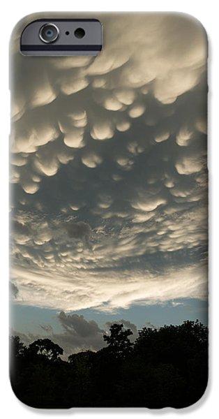 Turbulent Skies iPhone Cases - Bizarre Mammatus Clouds After a Storm iPhone Case by Georgia Mizuleva