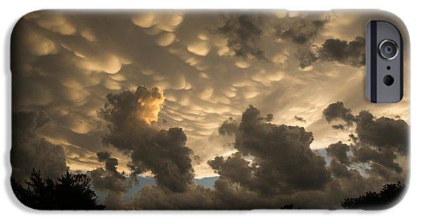 Turbulent Skies iPhone Cases - Bizarre Mammatus Clouds in Toronto at Sunset iPhone Case by Georgia Mizuleva
