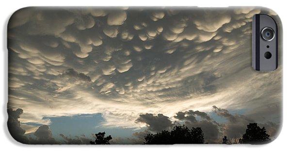 Turbulent Skies iPhone Cases - Bizarre Mammatus Clouds in Toronto iPhone Case by Georgia Mizuleva