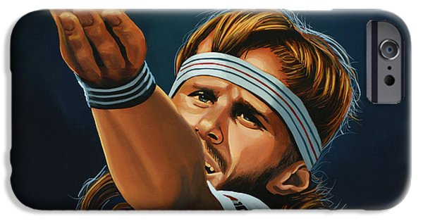 World Series Paintings iPhone Cases - Bjorn Borg iPhone Case by Paul  Meijering