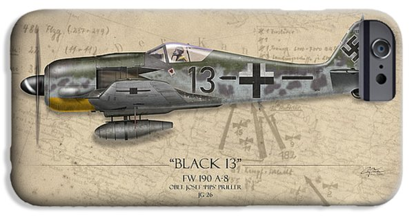 Nose Digital Art iPhone Cases - Black 13 Focke-Wulf FW 190 - Map Background iPhone Case by Craig Tinder