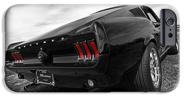 Selective Coloring Art iPhone Cases - Black 1967 Mustang iPhone Case by Gill Billington