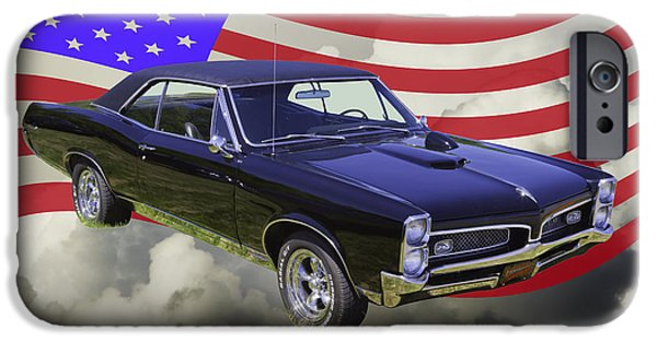 Red White And Blue iPhone Cases - Black 1967 Pontiac GTO with American Flag iPhone Case by Keith Webber Jr