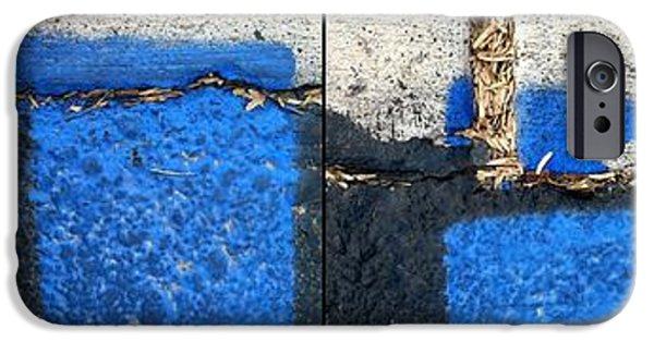 Asphalt iPhone Cases - Black and Blue iPhone Case by Marlene Burns