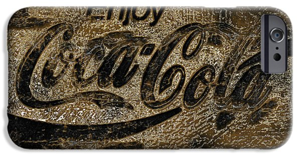 Coca-cola Signs iPhone Cases - Black and Gold Abstract Coca Cola Sign iPhone Case by John Stephens