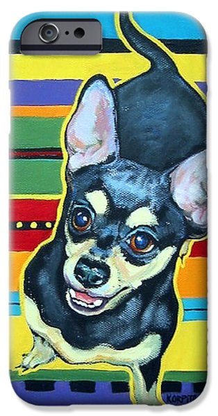 Chiwawa iPhone Cases - Black and Tan Chihuahua - Serape iPhone Case by Rebecca Korpita