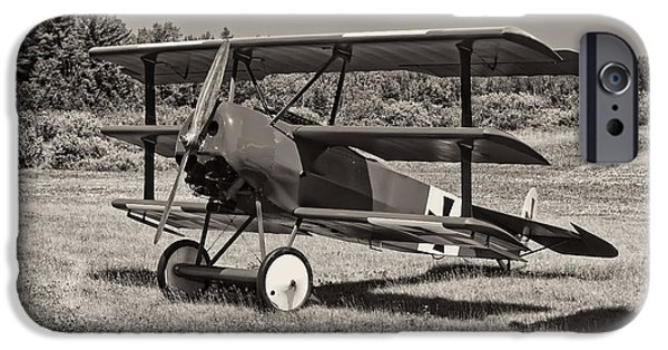 Wwi iPhone Cases - Black and White 1917 Fokker Dr.1 Triplane Red Barron iPhone Case by Keith Webber Jr