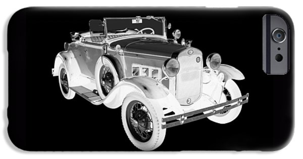 Antique Cars iPhone Cases - Black and White 1931 Ford Model A Cabriolet iPhone Case by Keith Webber Jr