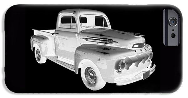 Classic F1 iPhone Cases - Black And White 1951 Ford F-1 Pickup Truck  iPhone Case by Keith Webber Jr